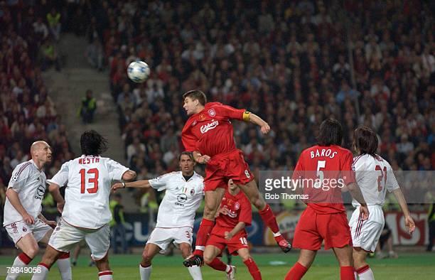 Sport Football UEFA Champions League Final 25th May 2005 Ataturk Stadium Istanbul AC Milan 3 v Liverpool 3 Steven Gerrard scores Liverpool's first...