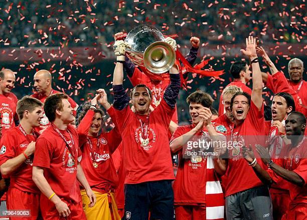 Sport Football UEFA Champions League Final 25th May 2005 Ataturk Stadium Istanbul AC Milan 3 v Liverpool 3 Liverpool's goalkeeper Jerzy Dudek...