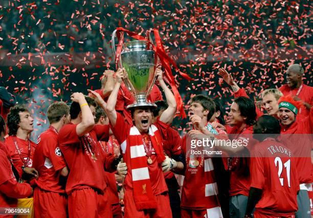Sport Football UEFA Champions League Final 25th May 2005 Ataturk Stadium Istanbul AC Milan 3 v Liverpool 3 Liverpool's Vladimir Smicer celebrates...