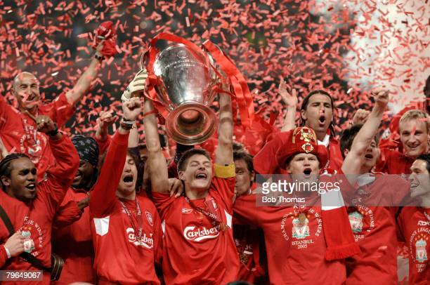 Sport Football UEFA Champions League Final 25th May 2005 Ataturk Stadium Istanbul AC Milan 3 v Liverpool 3 Liverpool captain Steven Gerrard and the...