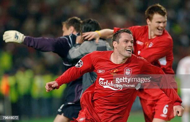 Sport Football UEFA Champions League Final 25th May 2005 Ataturk Stadium Istanbul AC Milan 3 v Liverpool 3 Liverpool's Jamie Carragher celebrates...