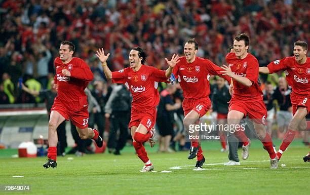 Sport Football UEFA Champions League Final 25th May 2005 Ataturk Stadium Istanbul AC Milan 3 v Liverpool 3 Liverpool players Jamie Carragher Luis...