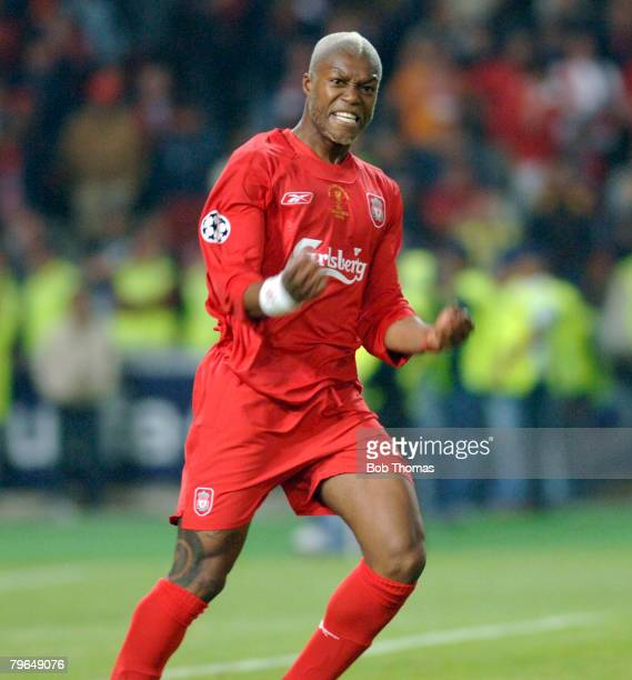 Sport Football UEFA Champions League Final 25th May 2005 Ataturk Stadium Istanbul AC Milan 3 v Liverpool 3 Liverpool's Djibril Cisse celebrates after...