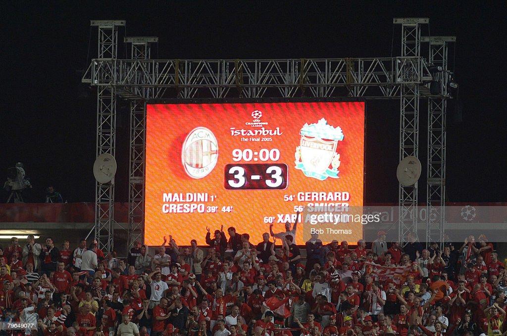 BT Sport, Football, UEFA Champions League Final, 25th May 2005, Ataturk Stadium, Istanbul, AC Milan 3 v Liverpool 3, ( Liverpool won 3-2 on penalties), The stadium scoreboard after normal time : News Photo