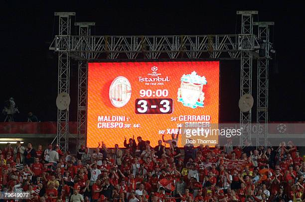Sport Football UEFA Champions League Final 25th May 2005 Ataturk Stadium Istanbul AC Milan 3 v Liverpool 3 The stadium scoreboard after normal time