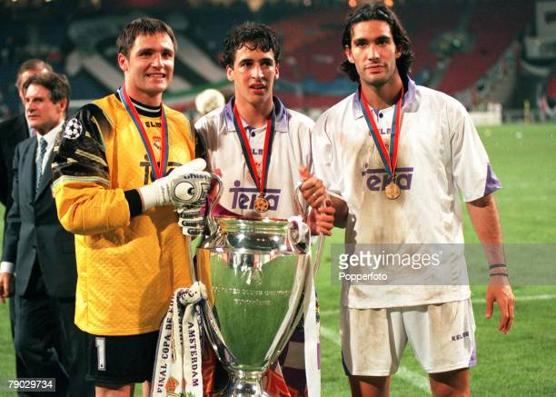 Sport Football UEFA Champions League Final Amsterdam Holland 20th May 1998 Real Madrid 1 v Juventus 0 Real Madrid trio LR Santiago Canizares Raul and...