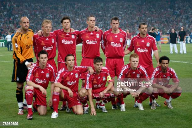 Sport Football UEFA Champions League Final Athens 23rd May 2007 AC Milan 2 v Liverpool 1 Liverpool Team Group LR Back Row Pepe Reina Dirk Kuyt Xabi...