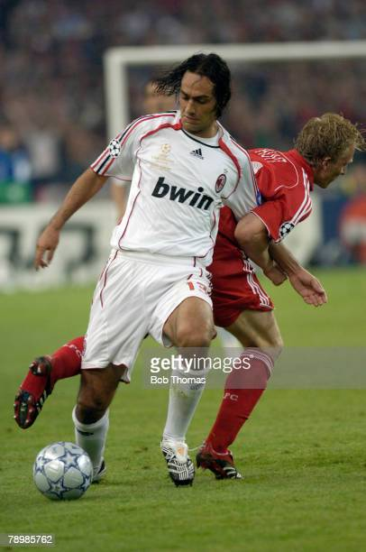 Sport Football UEFA Champions League Final Athens 23rd May 2007 AC Milan 2 v Liverpool 1 AC Milan's Alessandro Nesta with Dirk Kuyt of Liverpool