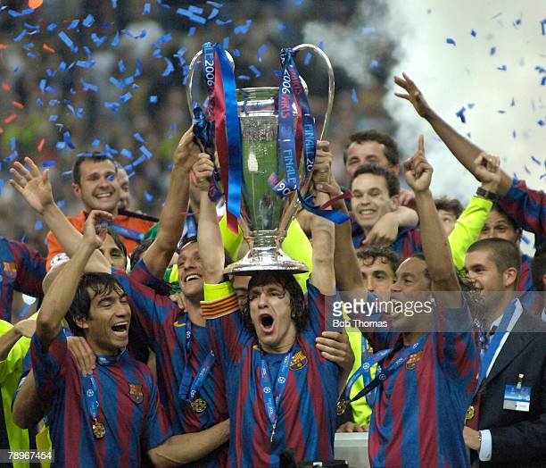 Sport Football UEFA Champions League Final Paris 17th May 2006 Barcelona 2 v Arsenal 1 Barcelona's captain Carles Puyol together with Ronaldinho and...