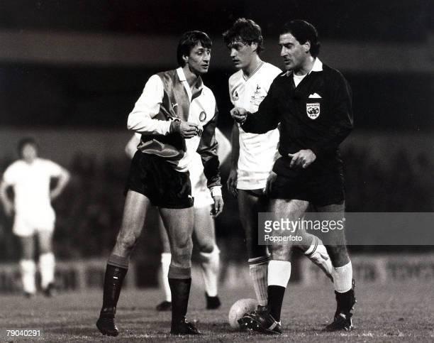 Sport Football UEFA Cup 2nd Round First Leg White Hart Lane London England 18th October 1983 Tottenham Hotspur 4 v Feyenoord 2 Feyenoord's Johan...