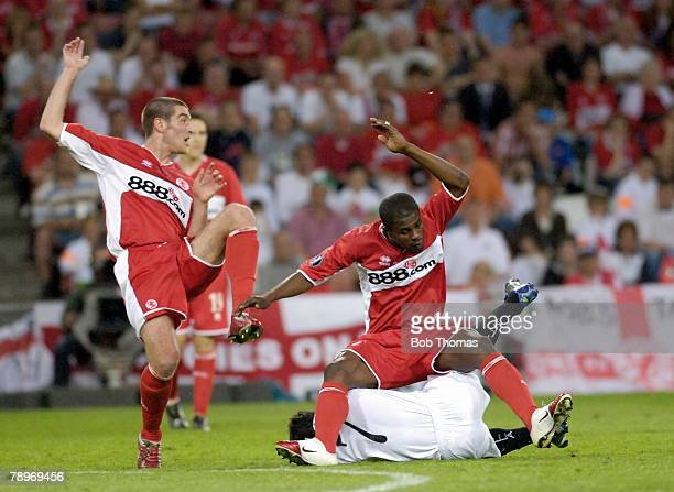 Sport Football UEFA Cup Final Eindhoven 10th May 2006 Middlesbrough 0 v Sevilla 4 Middlesbrough's Franck Queudrue and George Bateng tangle with...