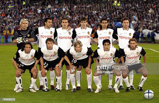 Sport Football UEFA Cup Final Gothenburg 19th May 2004 Valencia CF 2 v Olympic Marseille 0 The Valencia team group including players Santiago...