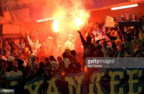 Sport Football UEFA Cup Final Gothenburg 19th May 2004 Valencia CF 2 v Olympic Marseille 0 Fans light their flares in the stand