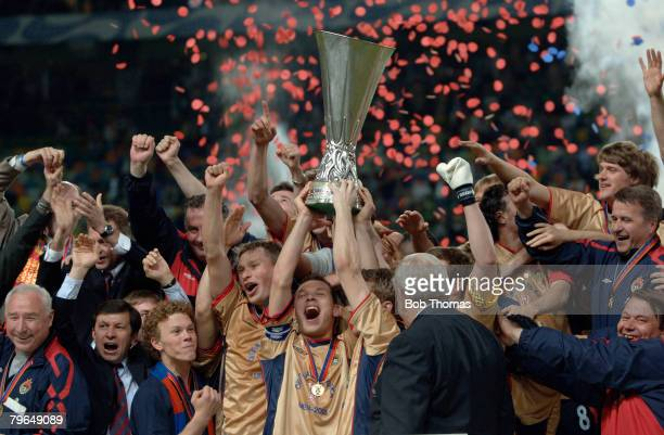 Sport, Football, UEFA Cup Final, Lisbon, 18th May 2005, Sporting Lisbon 1 v CSKA Moscow 3, Captain of Moscow Sergey Ignashevich celebrates as he...