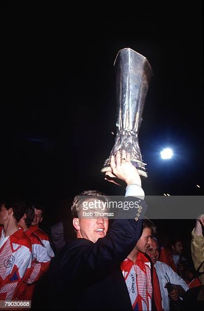Sport Football UEFA Cup Final Second Leg Amsterdam Holland 13th May 1992 Ajax 0 v Torino 0 Ajax coach Louis van Gaal celebrates with the trophy
