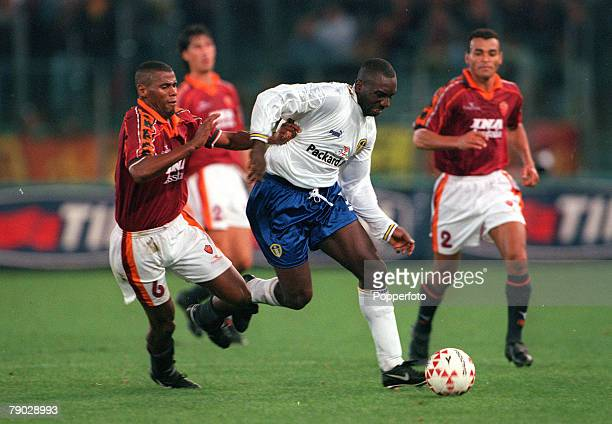 Sport Football UEFA Cup Second Round First Leg Rome Italy 20th October 1998 Roma 1 v Leeds United 0 Leeds United's Jimmy Floyd Hasselbaink is...