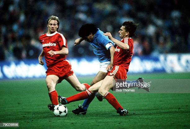 Sport Football UEFA Cup SemiFinal Second Leg Germany 19th April 1989 Bayern Munich 2 v Napoli 2 Bayern Munich captain Klaus Augenthaler tackles...