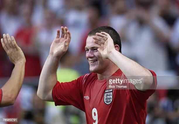 Sport, Football, UEFA European Championships, Euro 2004, Estadio Da Luz, Lisbon, 21st June 2004, Croatia 2 v England 4, Wayne Rooney celebrates after...