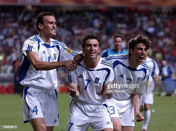 Sport Football UEFA European Championships Euro 2004 Estadio Da Luz Lisbon 4th July 2004 Final Portugal 0 v Greece 1 Greek players Nicolas Dabizas...