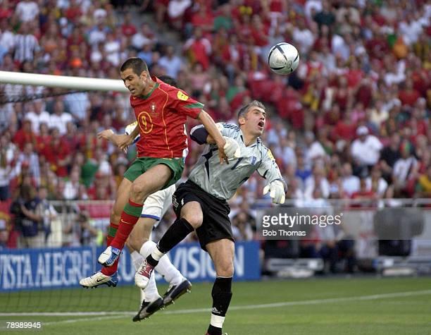 Sport Football UEFA European Championships Euro 2004 Estadio Da Luz Lisbon 4th July 2004 Final Portugal 0 v Greece 1 Portugal's Pauleta clashes with...