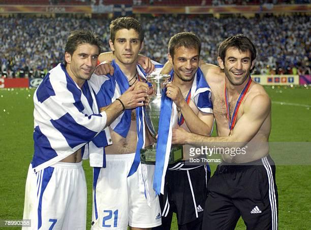 Sport Football UEFA European Championships Euro 2004 Estadio Da Luz Lisbon 4th July 2004 Final Portugal 0 v Greece 1 Greek players including captain...