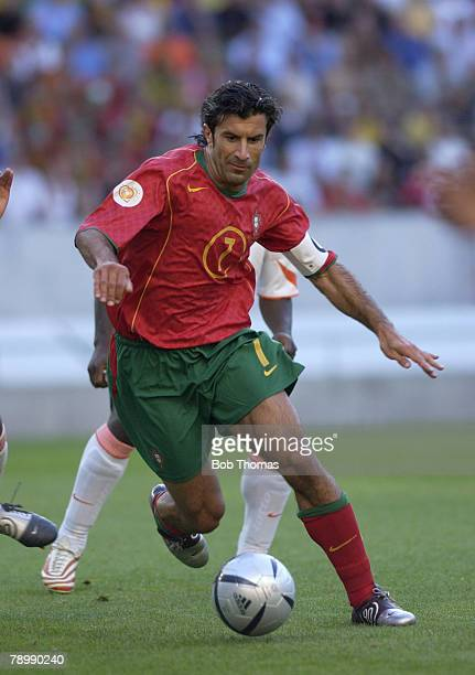 Sport Football UEFA European Championships Euro 2004 Jose Alvalade Stadium Lisbon 30th June 2004 SemiFinal Portugal 2 v Holland 1 Luis Figo of...
