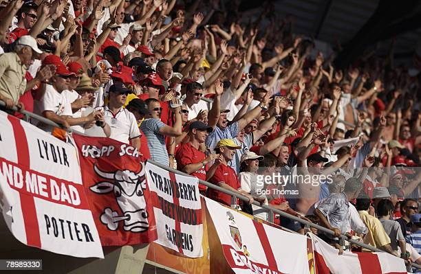 Sport, Football, UEFA European Championships, Euro 2004, Municipal Stadium, Coimbra, 17th June 2004, England 3 v Switzerland 0, England fans in the...