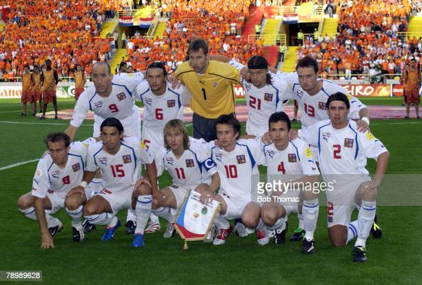 Sport Football UEFA European Championships Euro 2004 Municipal Stadium Aveiro 19th June 2004 Holland 2 v Czech Republic 3 Czech Republic team group...