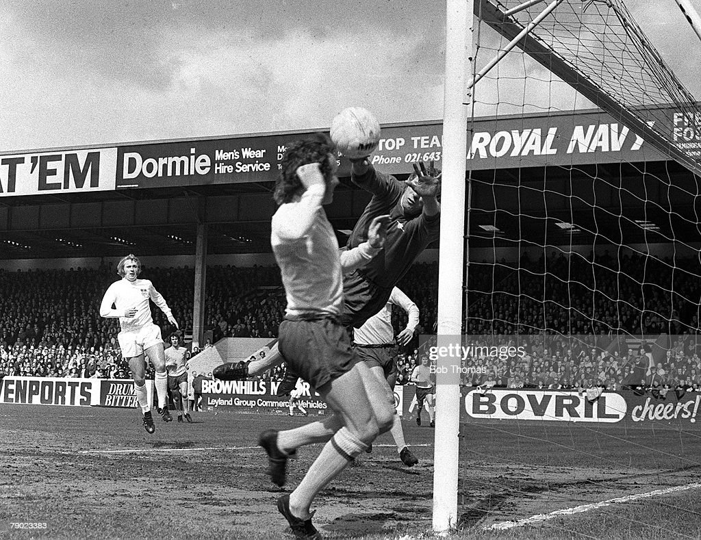 Sport. Football. Villa Park, Birmingham, England. 15th April 1972. FA Cup Semi-Final. Arsenal 1 v Stoke City 1. Arsenal goalkeeper Bob Wilson stretches to save during the match. : News Photo