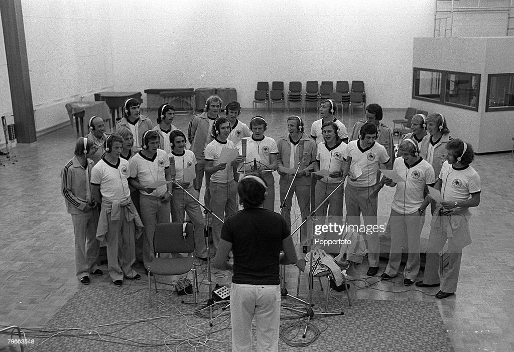 """Sport, Football, Walldorf, West Germany, 28th August 1973, The West German squad led by captain Franz Beckenbauer (front row, fourth left) record """"Football Is Our Life"""" in a studio, The record is to be released prior to the 1974 Word Cup : News Photo"""