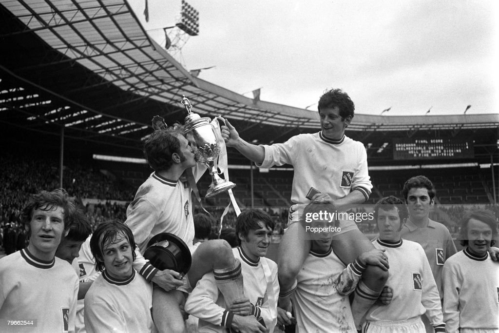Sport, Football, Wembley, London, England, 24th April 1971, FA Amateur Cup Final, Skelmersdale United 4 v Dagenham 1, The victorious Skelmersdale players carry hat-trick hero Ted Dickin (left) and captain John Turner on their shoulders after their victory : News Photo