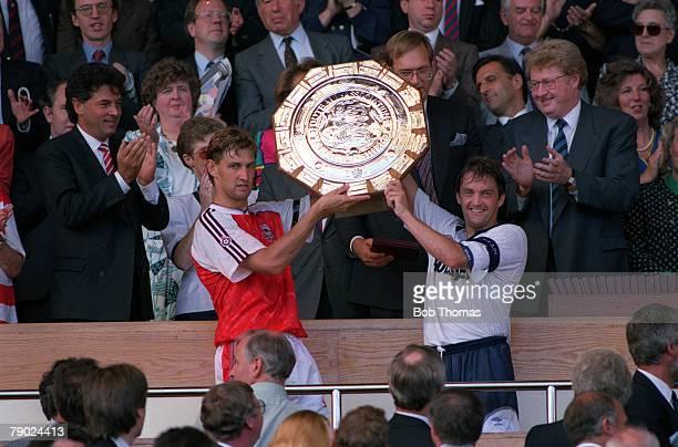 Sport Football Wembley London England FA Charity Shield 10th August 1991 Arsenal v Tottenham Hotspur Arsenal captain Tony Adams lifts the Charity...