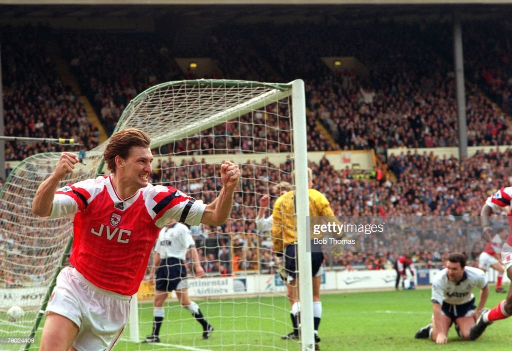 Sport. Football. Wembley, London, England. FA Cup Semi-Final. 4th April 1993. Arsenal 1 v Tottenham Hotspur 0. Arsenal captain Tony Adams celebrates after scoring the only goal of the game. : News Photo