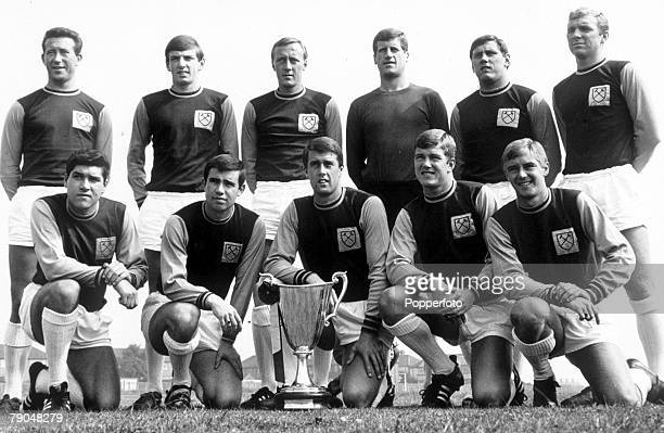 Sport Football West Ham United team group with the European Cup Winners Cup trophy August 1965 including Bobby Moore