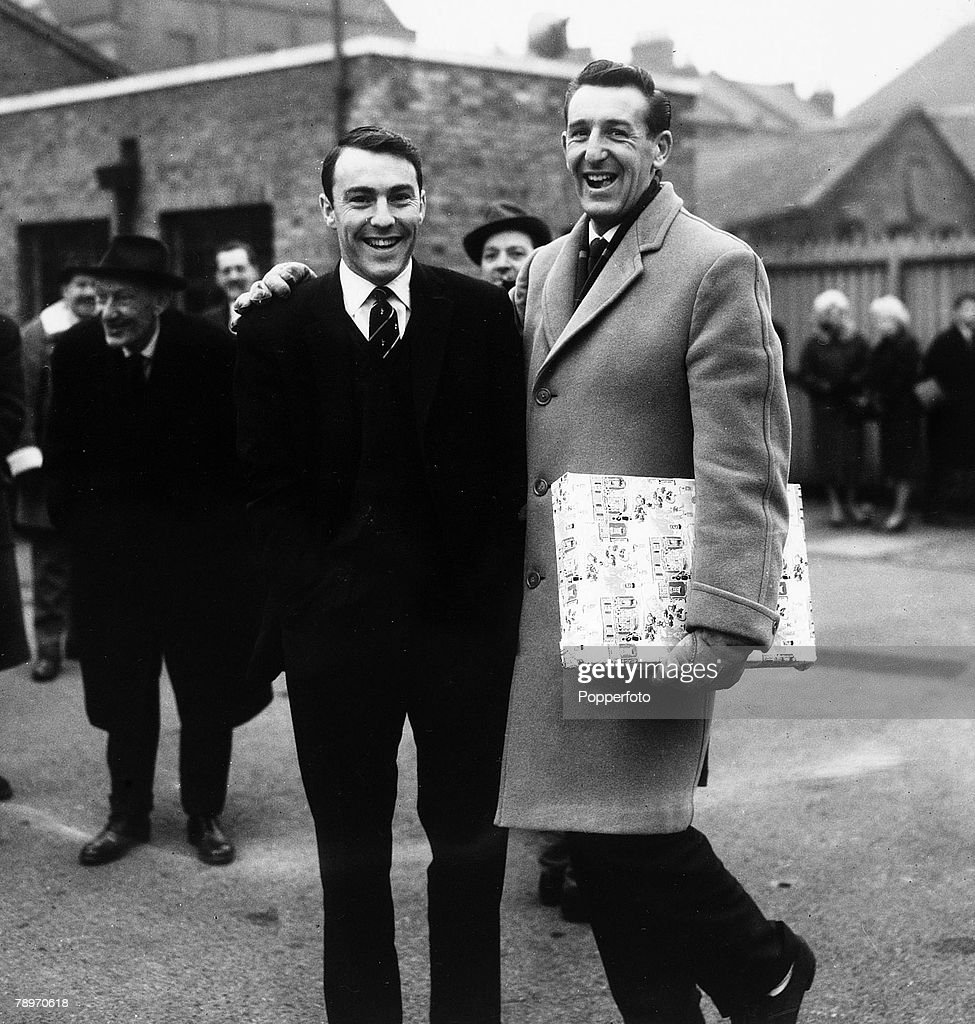 Sport. Football. White Hart Lane, London, England. 18th December 1961. Tottenham Hotspur's new signing from AC Milan, Jimmy Greaves (left) stands in the Spurs car park with team mate Tony Marchi prior to their First Division match against Blackpool. : News Photo