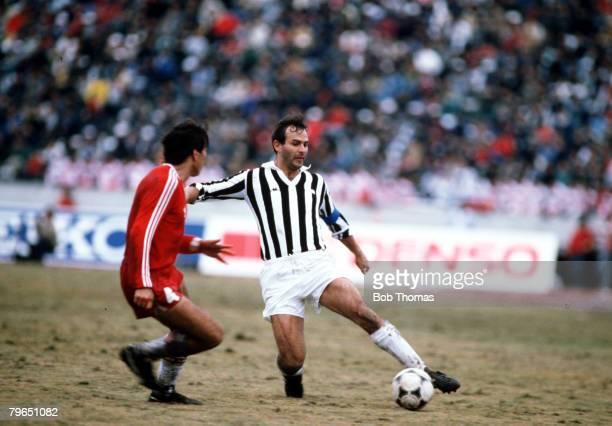 Sport Football World Club Championship Tokyo Japan 8th December 1985 Juventus 2 v Argentinos Juniors 2 Juventus captain Antonio Cabrini