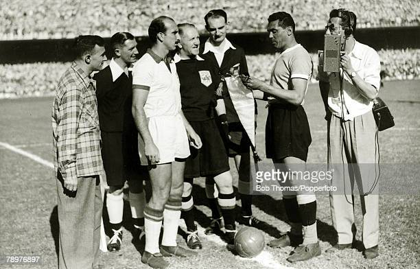Sport Football World Cup Final 16th July 1950 Maracana Stadium Rio de Janeiro Brazil 1 v Uruguay 2 With a Brazilian radio reporter in close...