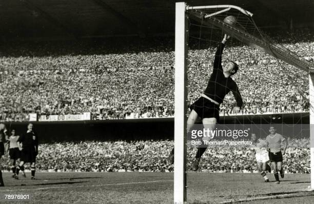 Sport Football World Cup Final 16th July 1950 Maracana Stadium Rio de Janeiro Brazil 1 v Uruguay 2 Uruguayan goalkeeper Roque Maspoli leaps to touch...