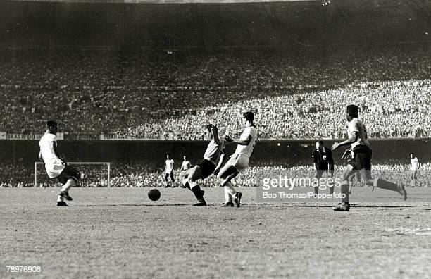 Sport Football World Cup Final 16th July 1950 Maracana Stadium Rio de Janeiro Brazil 1 v Uruguay 2 As the first half draws to a close the Uruguayan...
