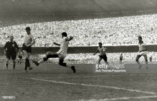 Sport Football World Cup Final 16th July 1950 Maracana Stadium Rio de Janeiro Brazil 1 v Uruguay 2 Juan Alberto Schiaffino shoots past Brazilian...