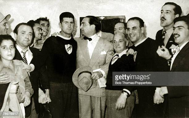 Sport Football World Cup Final 16th July 1950 Maracana Stadium Rio de Janeiro Brazil 1 v Uruguay 2 The Uruguay coach Juan Lopez with Uruguay chef de...
