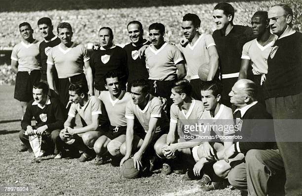 Sport Football World Cup Final 16th July 1950 Maracana Stadium Rio de Janeiro Brazil 1 v Uruguay 2 The Uruguay team Back rowlr Obdulio Varela Juan...