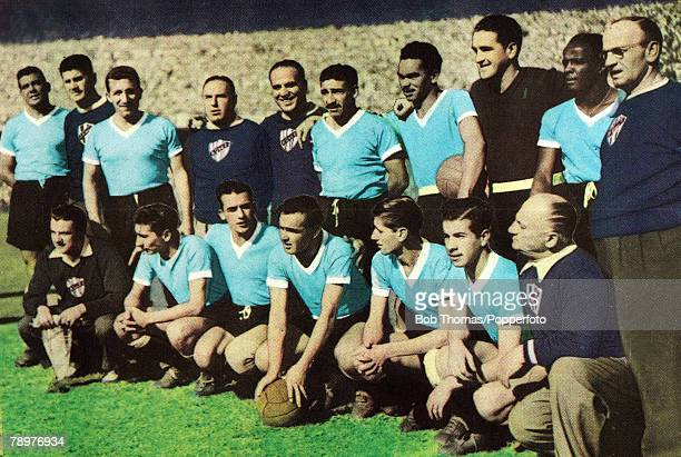 Sport Football World Cup Final 16th July 1950 Maracana Stadium Rio de Janeiro Brazil 1 v Uruguay 2 The Uruguay Back rowlr Obdulio Varela Juan Lopez...