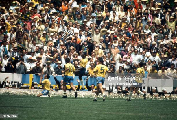 Sport Football World Cup Final 1970 Mexico City Mexico 21st June Brazil 4 v Italy 1 Brazil's Jairzinho on his knees prays after scoring his team's...