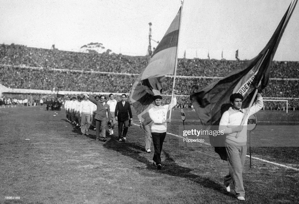 Sport. Football. World Cup Finals 1930. Montevideo, Uruguay. 18th July, 1930. The opening of the Centenary Stadium in Montevideo. : News Photo