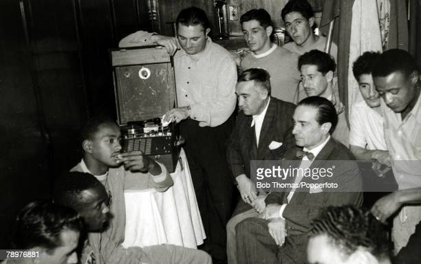 Sport Football World Cup Finals 2nd July 1950 Bela Horizonte Brazil Uruguay 8 v Bolivia 0 Uruguayan players and officials gather around to listen to...