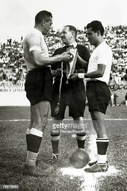 Sport Football World Cup Finals 2nd July 1950 Bela Horizonte Brazil Uruguay 8 v Bolivia 0 English referee George Reader appears distracted as Uruguay...