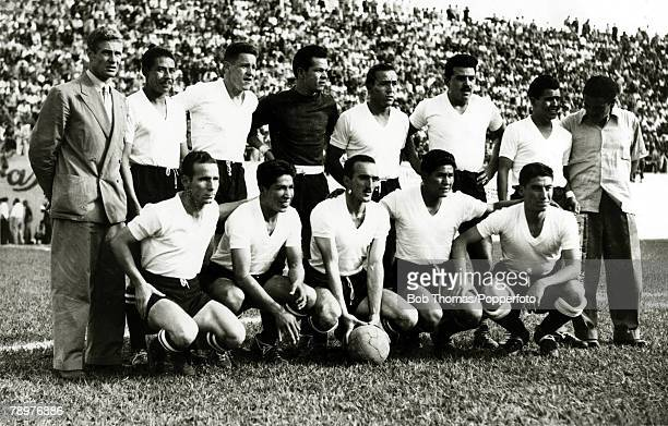 Sport Football World Cup Finals 2nd July 1950 Bela Horizonte Brazil Uruguay 8 v Bolivia 0 The Bolivia team lineup before the match which attracted a...