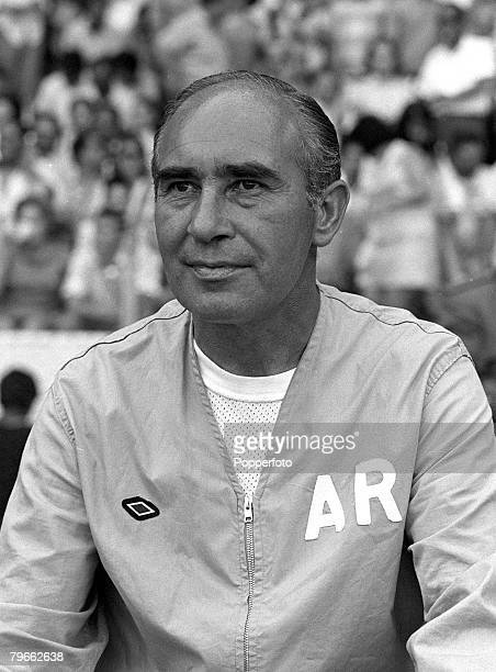Sport Football World Cup Finals Guadalajara Mexico 11th June 1970 Group 3 England 1 v Romania 0 England manager Sir Alf Ramsey watches the match from...