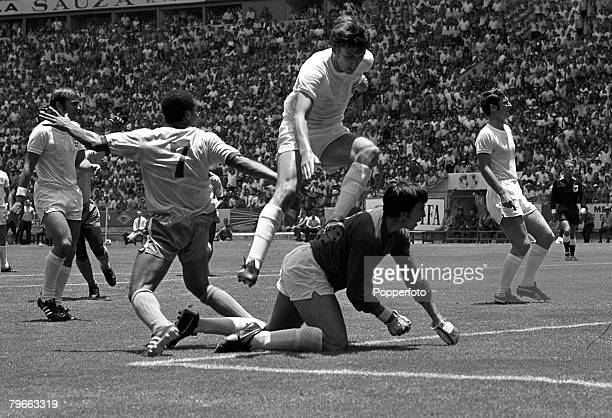 Sport Football World Cup Finals Guadalajara Mexico 7th June 1970 Group 3 Brazil 1 v England 0 Brazil's Jairzinho scores the only goal of the game...
